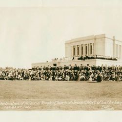 Church leaders and members gathered for the Mesa temple dedication ceremonies, Oct. 23-27, 1927.
