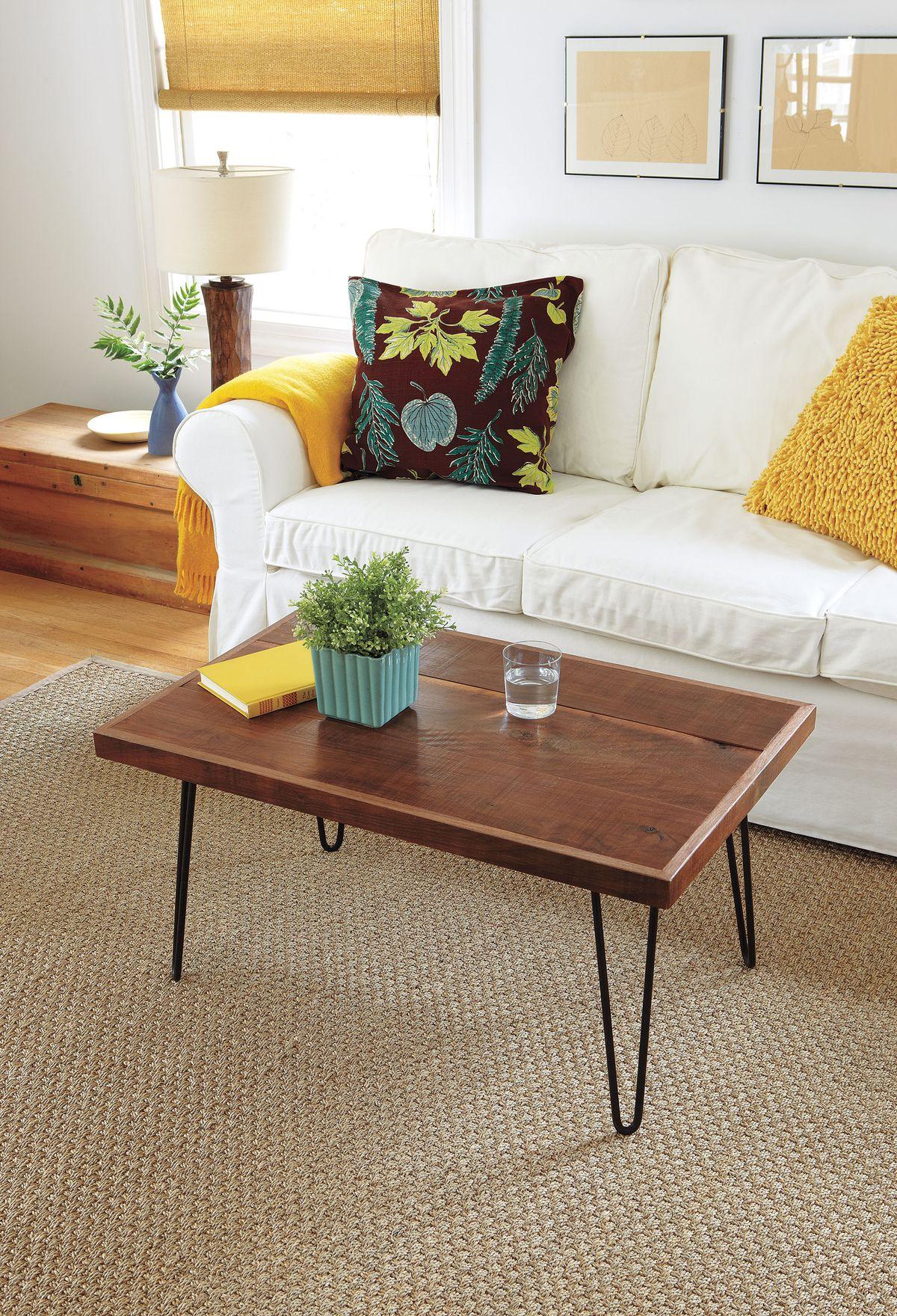 Metal and wood table.