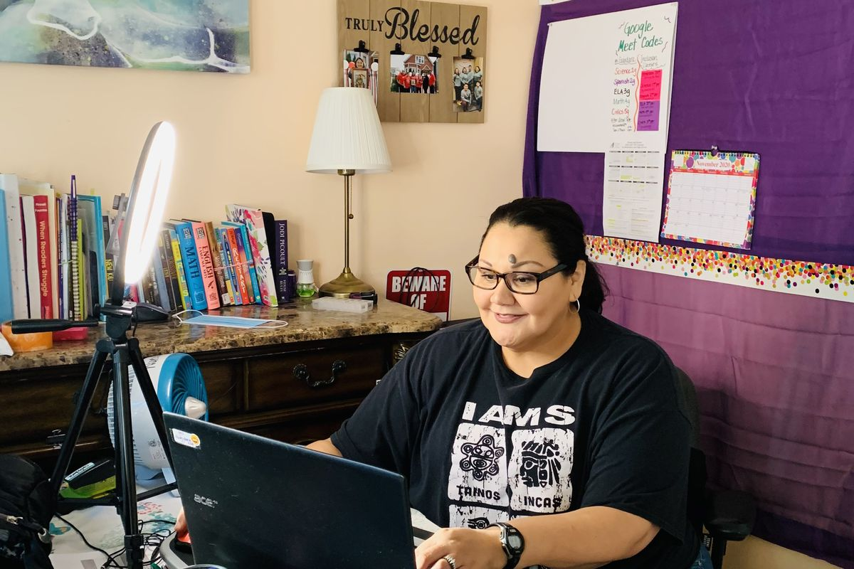 Maria Gándara, a bilingual middle school special education teacher at Edwards Elementary on Chicago's Southwest Side, has worked to engage her students during a year of teaching remotely.