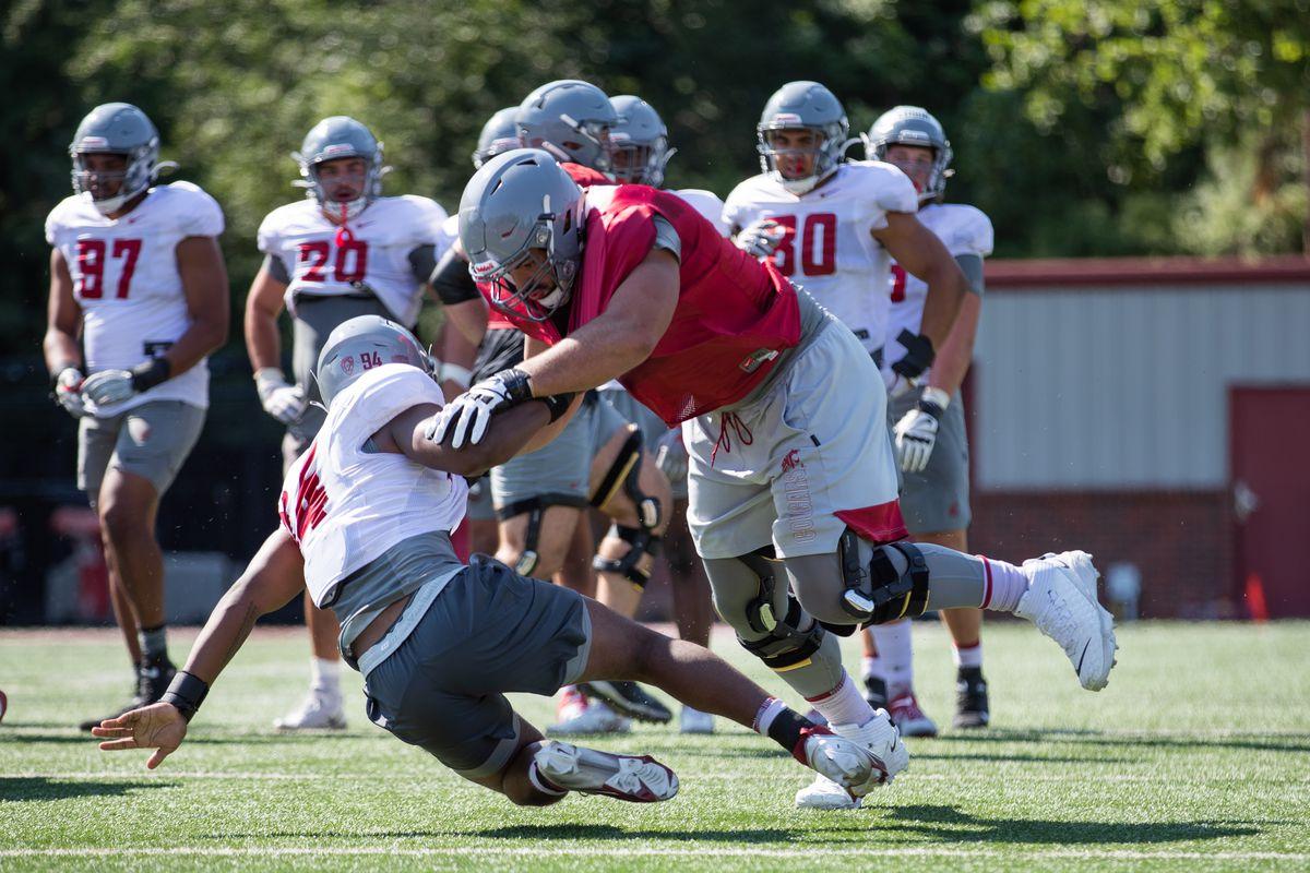 Washington State University Football Fall Practice 3 - Abe Lucas (crimson)