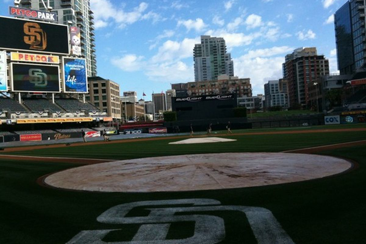 """<a href=""""http://twitpic.com/1f459n"""">Andy Masur shows us that the tarp is off the field</a>! Play ball!"""