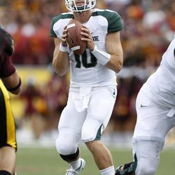 Michigan State quarterback Andrew Maxwell looks to pass during the first quarter of an NCAA college football game against Central Michigan, Saturday, Sept. 8, 2012, in Mount Pleasant, Mich. Michigan State won 41-7.