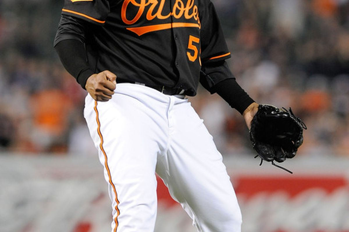 Alfredo Simon celebrates! Yeah, it's from yesterday. But it's still appropriate. (Photo by Greg Fiume/Getty Images)