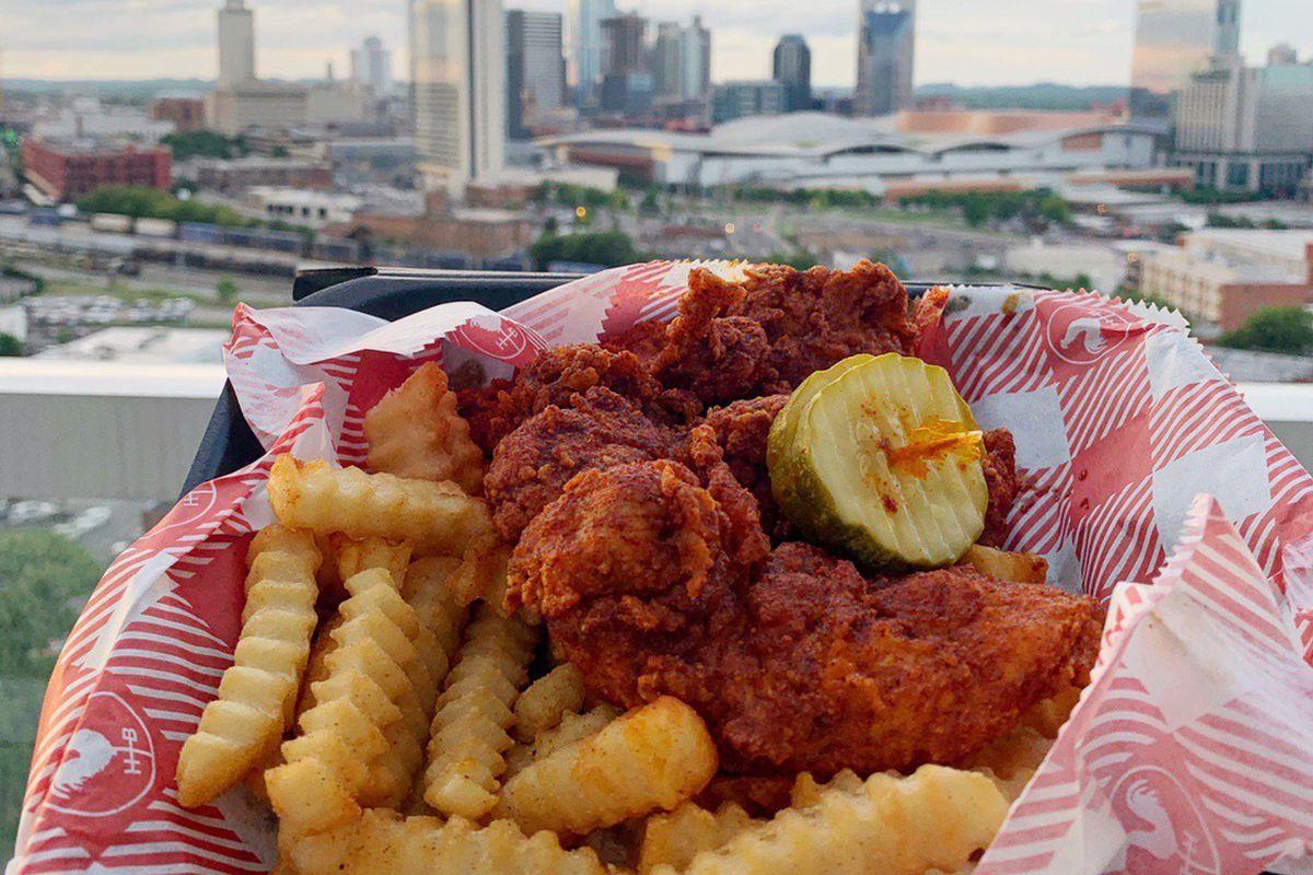 Hattie B's hot chicken and the nashville skyline