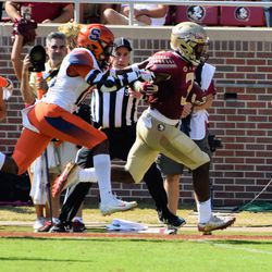 FR RB Cam Akers about to finish off a long touchdown run against Syracuse.