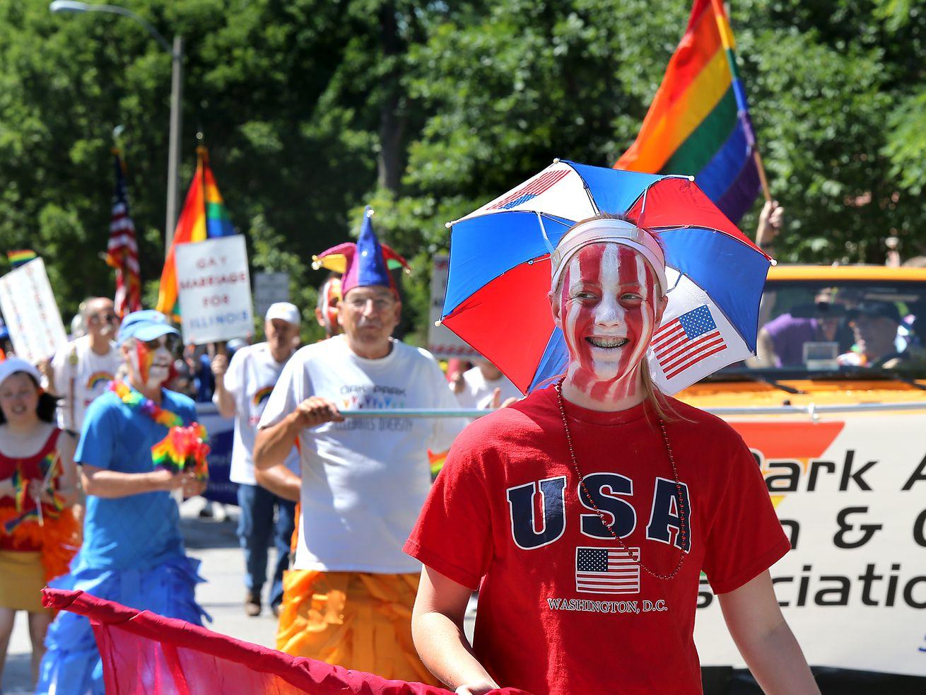 Fourth of July revelers in Oak Park in 2014.