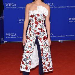 Emma Watson wears an Osman dress and trousers.