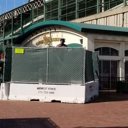 Billy Williams statue, all fenced in