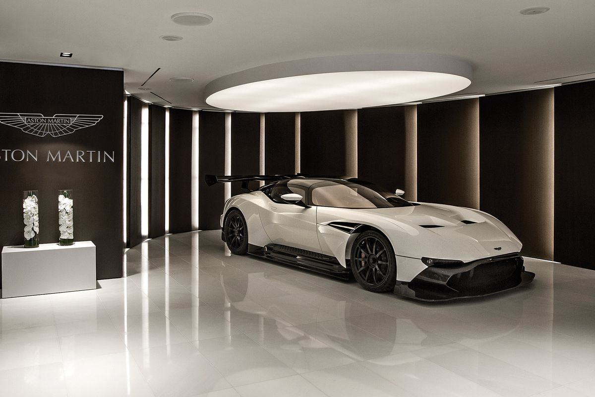Inside the Aston Martin sales gallery, which features a Vulcan