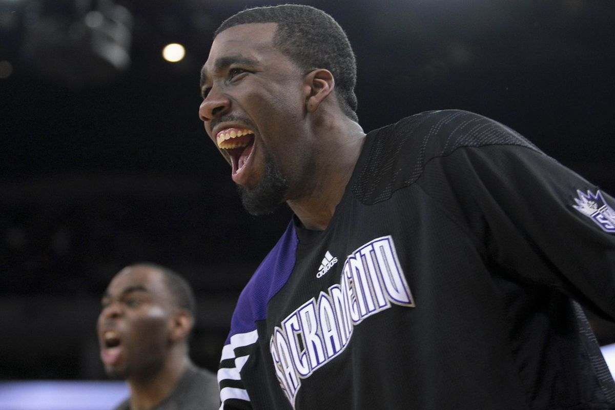 March 24, 2012; Oakland, CA, USA; Sacramento Kings small forward Donte Greene (20) reacts to a call against the Golden State Warriors during the fourth quarter at Oracle Arena. Golden State won 111-108. Mandatory Credit: Kelley L Cox-US PRESSWIRE