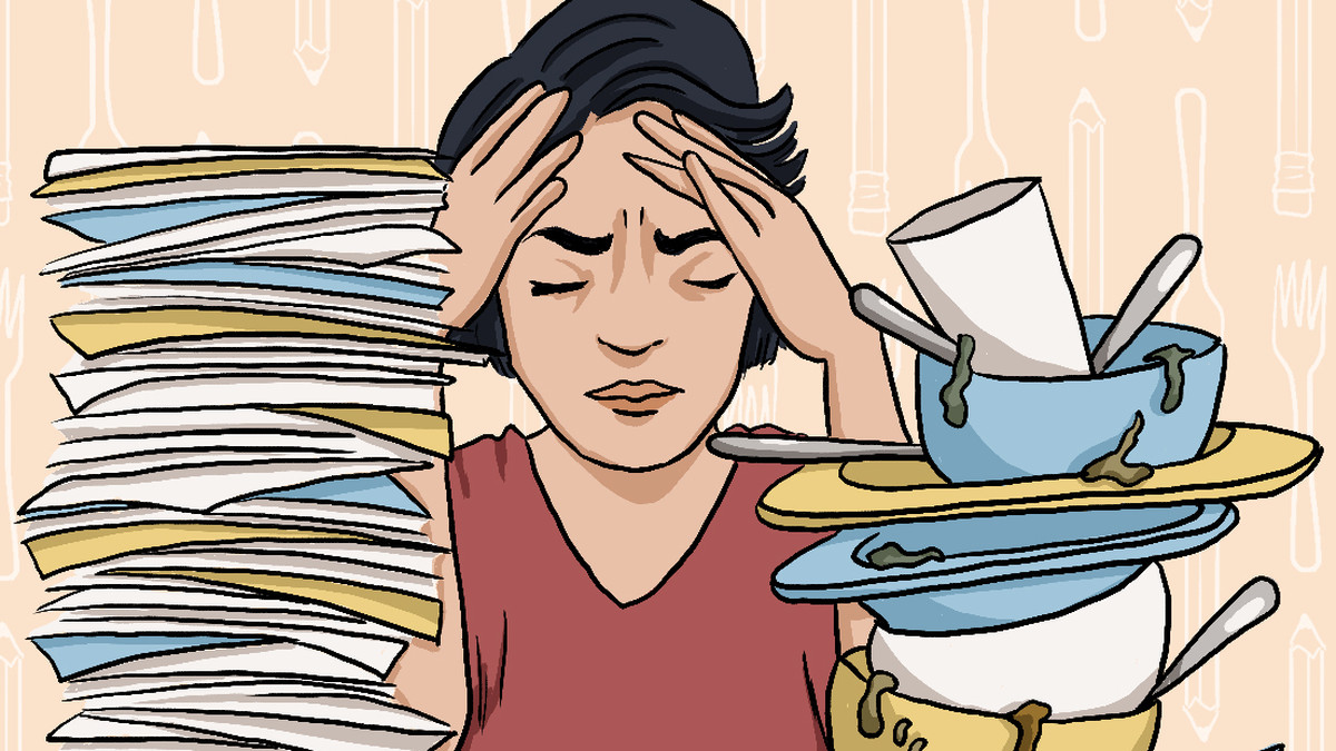 A comic illustration of a woman putting her hands to her head in pain next to stacks of paperwork and dirty dishes.