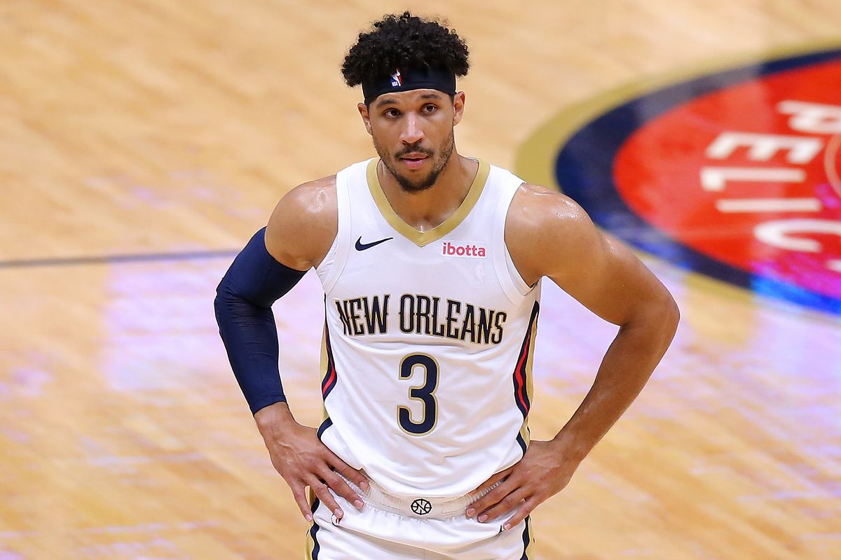 Josh Hart #3 of the New Orleans Pelicans reacts against the Utah Jazz during a game at the Smoothie King Center on March 01, 2021 in New Orleans, Louisiana.