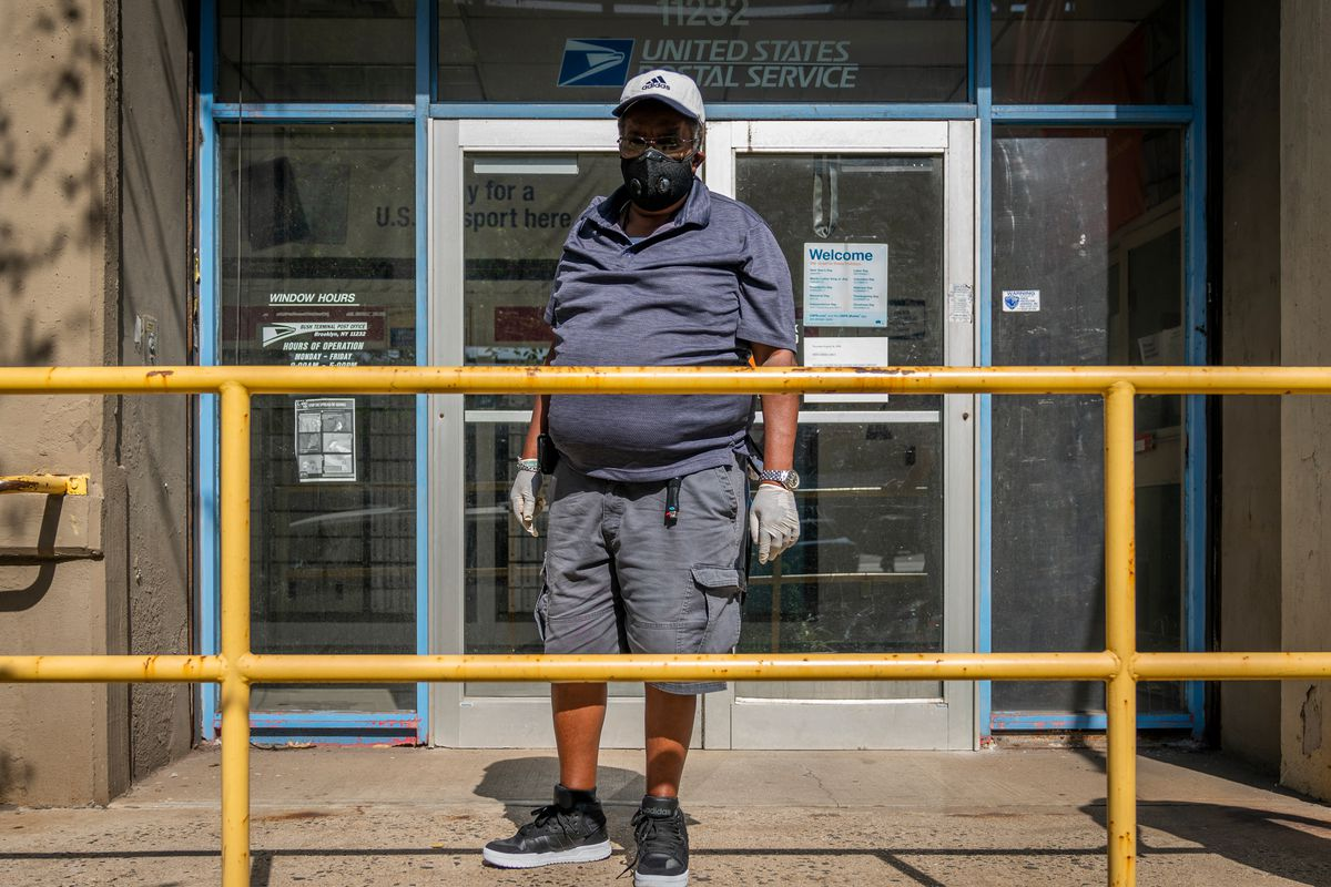 Samuel Parham, 67, uses a USPS location in Sunset Park's Industry City, Aug. 21, 2020.