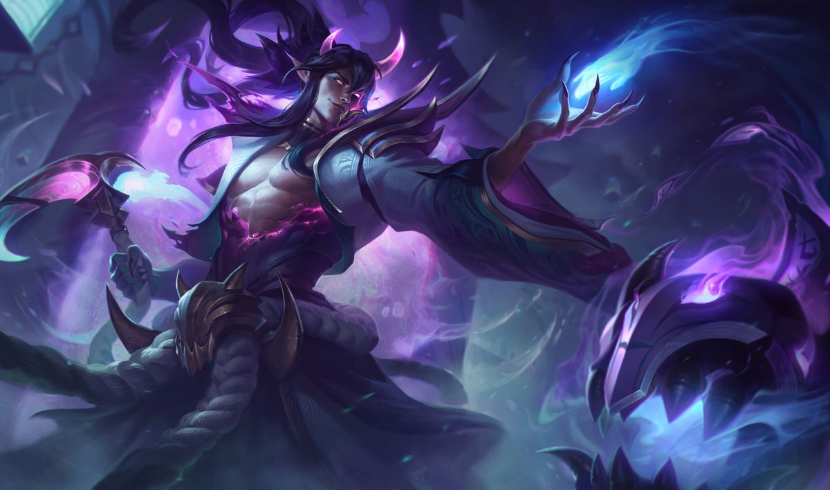 Spirit Blossom Thresh is human with giant purple demon horns