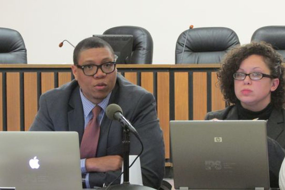 IPS Superintendent Lewis Ferebee and board member Gayle Cosby at Tuesday's meeting. (Scott Elliott)