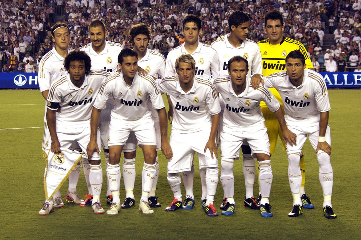 SAN DIEGO, CA - July 20:  Real Madrid lines up for a team picture prior to the game against CD Guadalajara at Qualcomm Stadium on July 20, 2011 in San Diego, California. (Photo by Kent Horner/Getty Images)