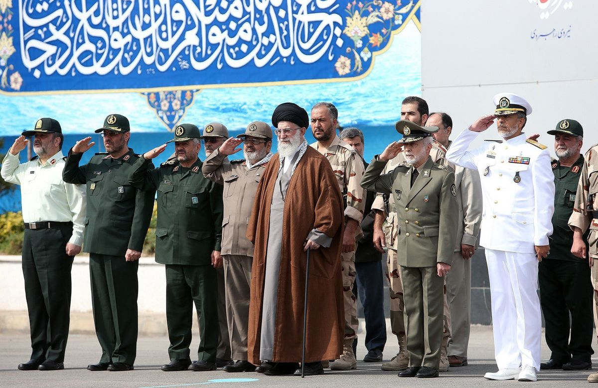 Iranian Supreme Leader Ayatollah Ali Khamenei attends a graduation ceremony of the Iranian Navy cadets in the city of Noshahr on September 30, 2015.