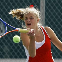 Judge Memorial's Whitney Weisberg competes in and wins the 3A girls 2nd singles championship in tennis Monday, Oct. 10, 2011 at Timpanogos High school in Orem.