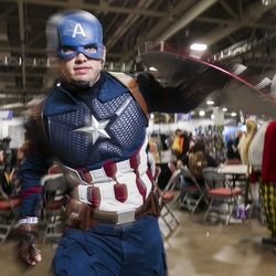 Andrew Leech, dressed as Captain America, poses for a portrait during the first day of FanX at the Salt Palace Convention Center in Salt Lake City on Thursday, Sept. 5, 2019.