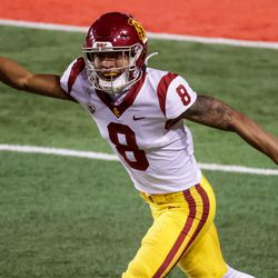 USC Trojans cornerback Chris Steele (8) celebrates after making an interception in the final moments of the game against the Utah Utes at Rice-Eccles Stadium in Salt Lake City on Saturday, Nov. 21, 2020.