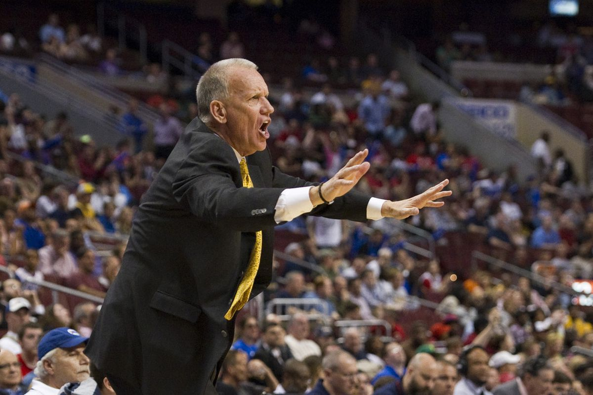 Apr 17, 2012; Philadelphia, PA, USA; Philadelphia 76ers head coach Doug Collins during the fourth quarter against the Indiana Pacers at the Wells Fargo Center. The Pacers defeated the Sixers 102-97. Mandatory Credit: Howard Smith-US PRESSWIRE