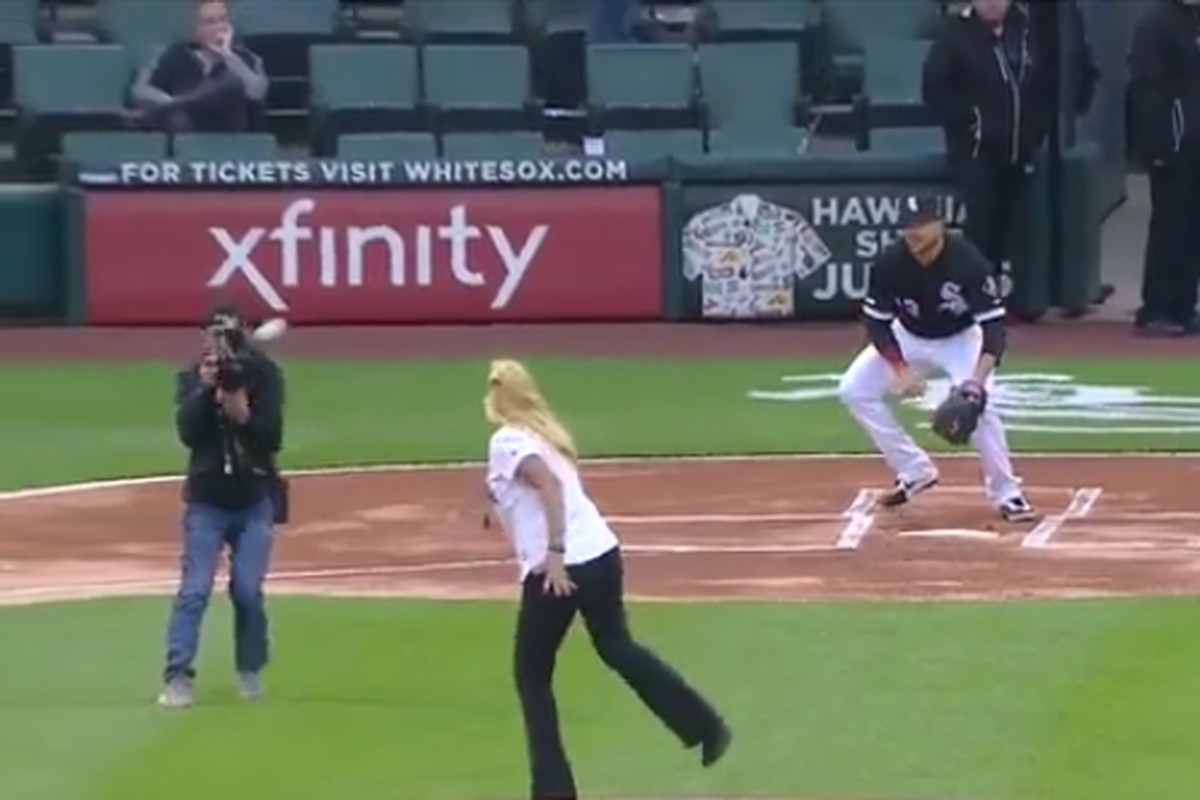 Errant first pitch hits cameraman