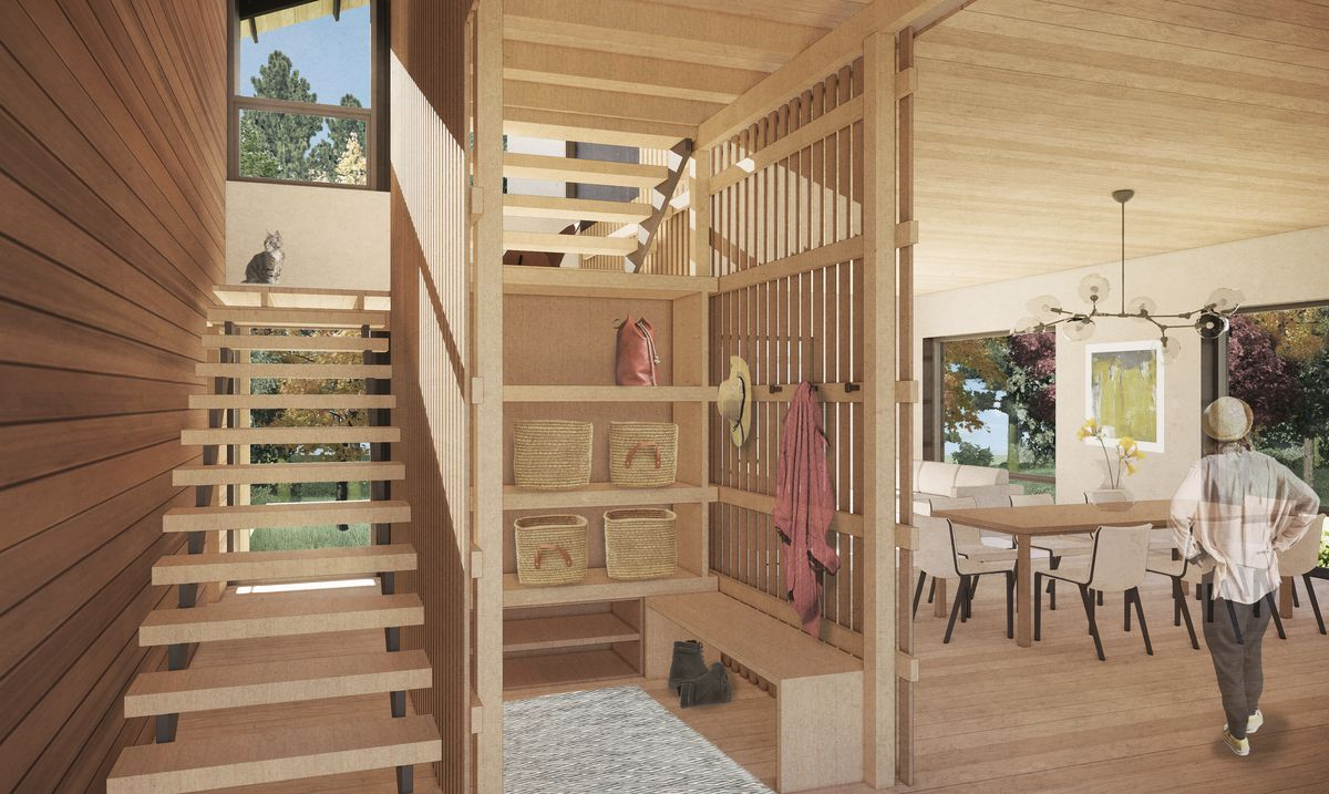 Rendering of the interior of a wooden home with floating staircase and open dining area.