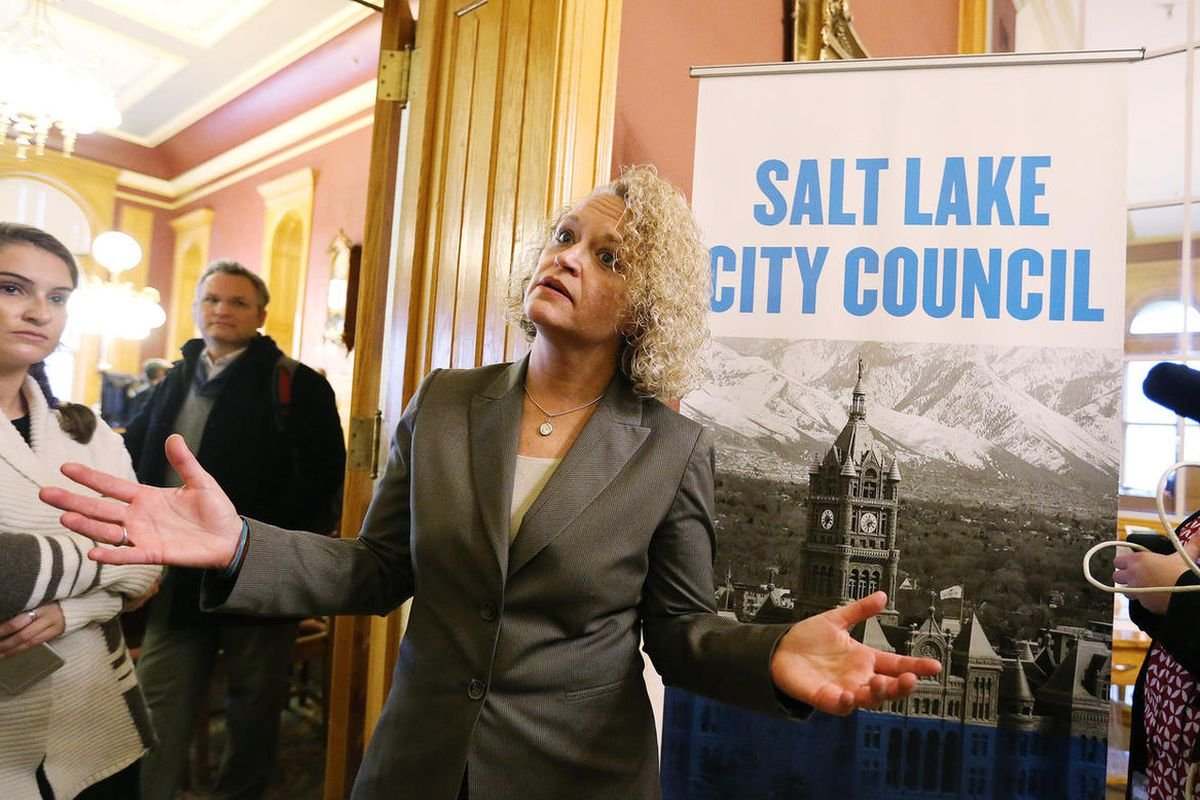 FILE — Mayor-elect Jackie Biskupski speaks to the media after mayoral election results were announced by the Board of Canvassers comprising the Salt Lake City Council Members and the Mayor in Salt Lake City Tuesday, Nov. 17, 2015. Mayor-elect Jackie Bisku
