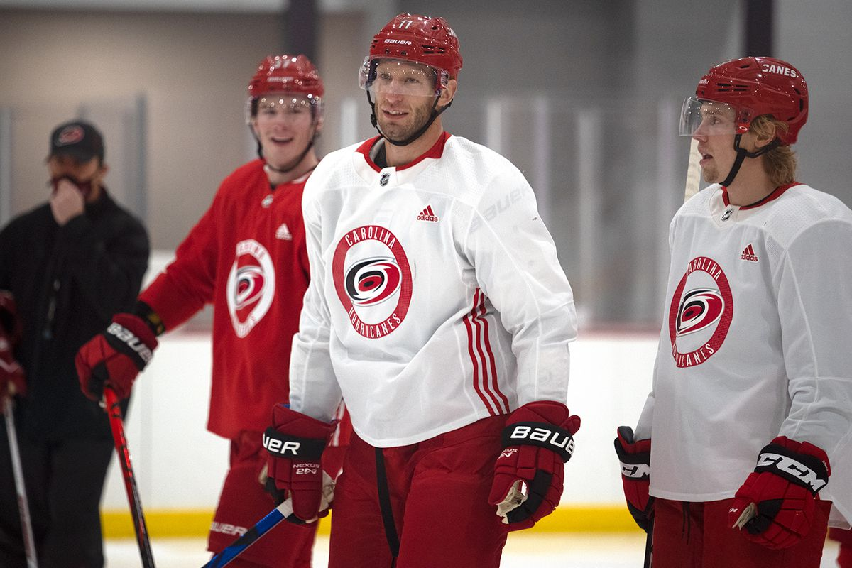 Jordan Staal during day three of training camp at Wake Competition Center, Jan. 6, 2021.