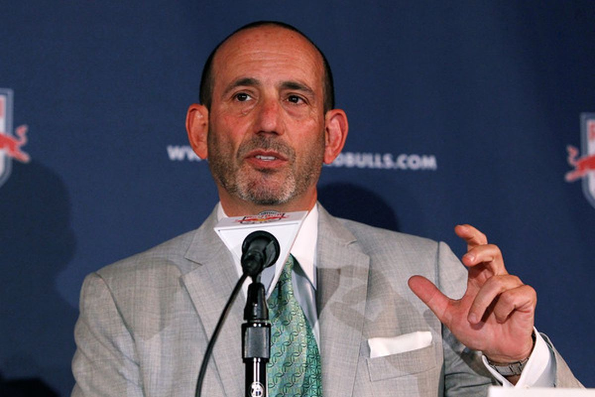 HARRISON NJ - JULY 15:  MLS Commisioner Don Garber speaks to the media during a press conference on July 15 2010 at Red Bull Arena in Harrison New Jersey.  (Photo by Mike Stobe/Getty Images for New York Red Bulls)