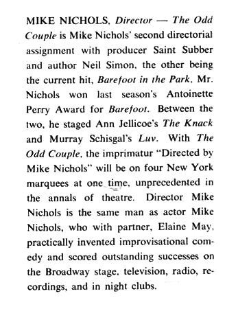 A selection from Mike Nichols's Playbill biography. (Playbill)