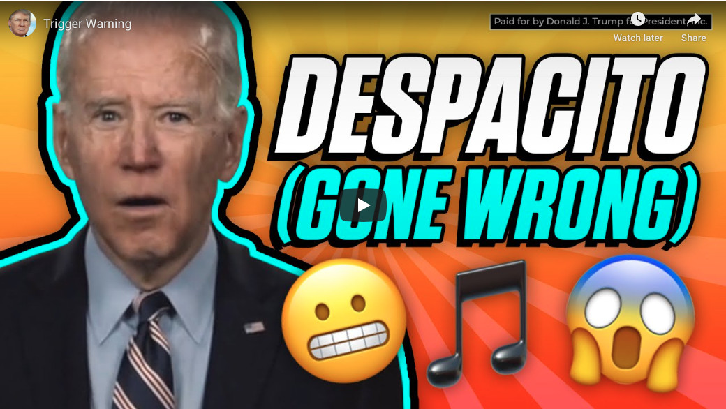 """An illustration of Joe Biden with the words """"Despacito (Gone Wrong)"""" and three emoji"""