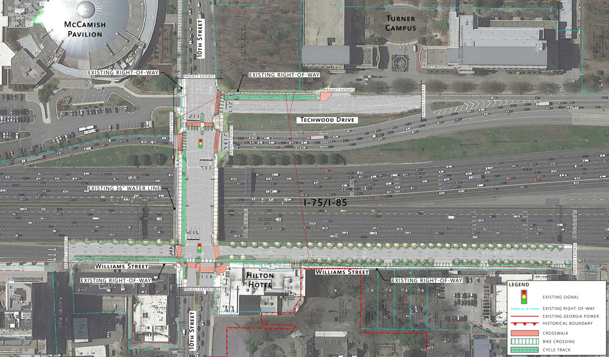 A blueprint shows new bicycle lanes on and near the 10th Street Bridge.