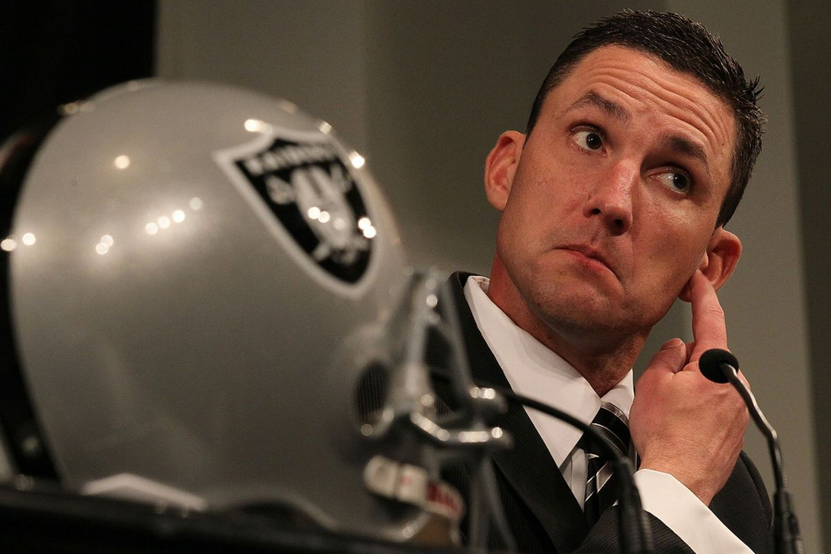 New Oakland Raiders head coach Dennis Allen looks on during a press conference on January 30, 2012 in Alameda, California.