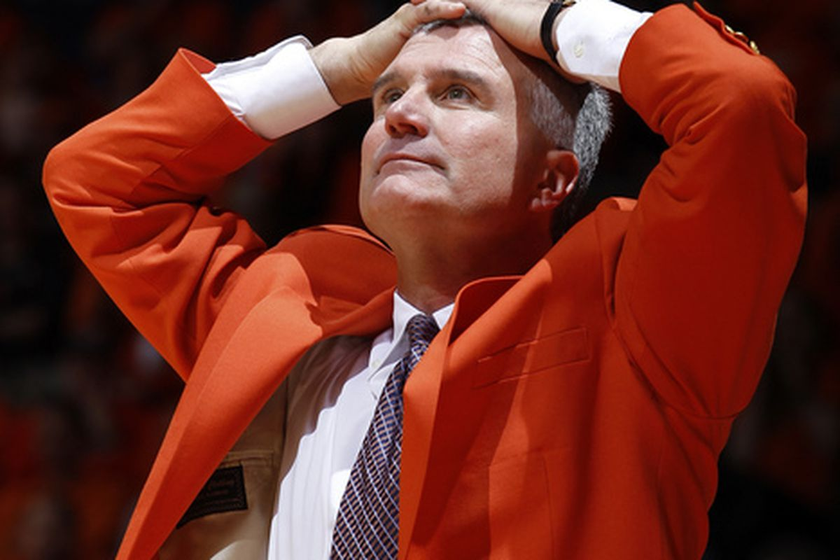 CHAMPAIGN IL - JANUARY 22: Illinois Fighting Illini head coach Bruce Weber looks on in the first half against the Ohio State Buckeyes at Assembly Hall on January 22 2011 in Champaign Illinois. (Photo by Joe Robbins/Getty Images)