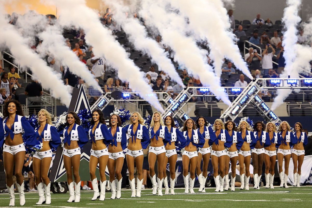ARLINGTON, TX - AUGUST 29:  The Dallas Cowboys Cheerleaders perform at Cowboys Stadium on August 29, 2012 in Arlington, Texas.  (Photo by Ronald Martinez/Getty Images)