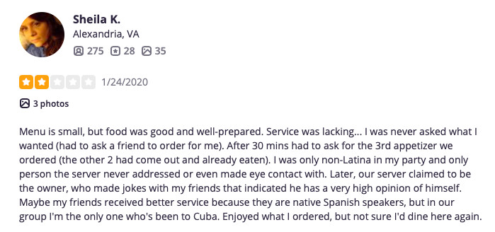 Sheila K.'s Yelp review of El Sapo