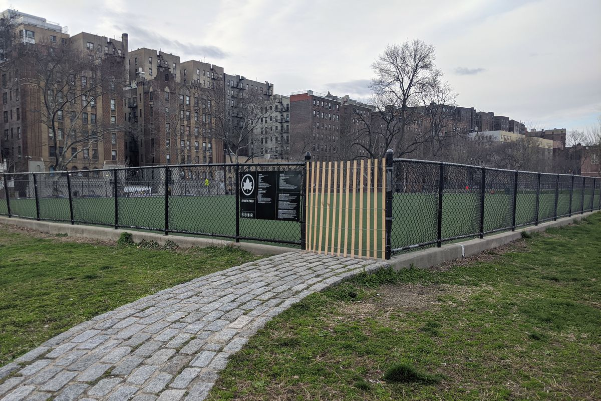 A shut-off soccer field in Mullaly Park in The Bronx, April 2, 2020.