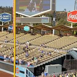 1960s retro corrugated roof over the right-field pavilion