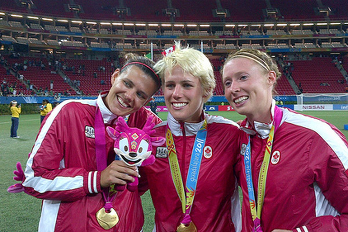 Christine Sinclair, Sophie Schmidt, and Melanie Booth were all gold medal winners at the Pan Am games and will now be on the roster as Canada starts its road to gold at the London 2012 Olympics