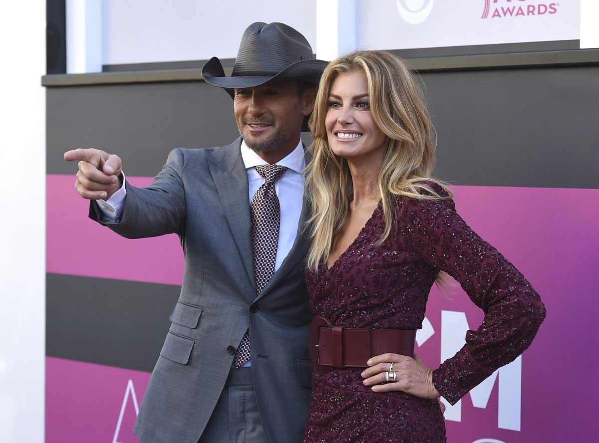 Tim McGraw and his wife Faith Hill arrive at the 52nd annual Academy of Country Music Awards at the T-Mobile Arena in Las Vegas in 2017.