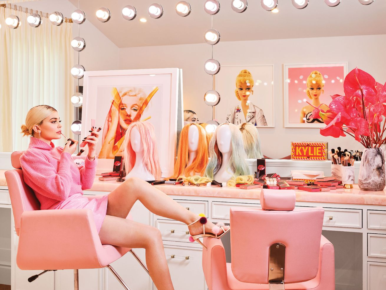 "Kylie Jenner in her ""glam room."" Jenner requested lots of pink be used throughout the home."