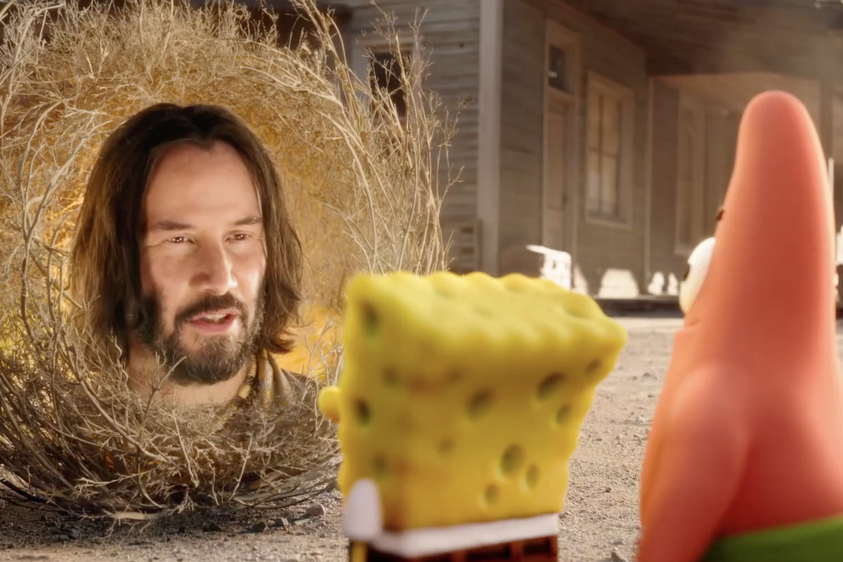 Keanu reeves' disembodied face gives patrick and spongebob some advice