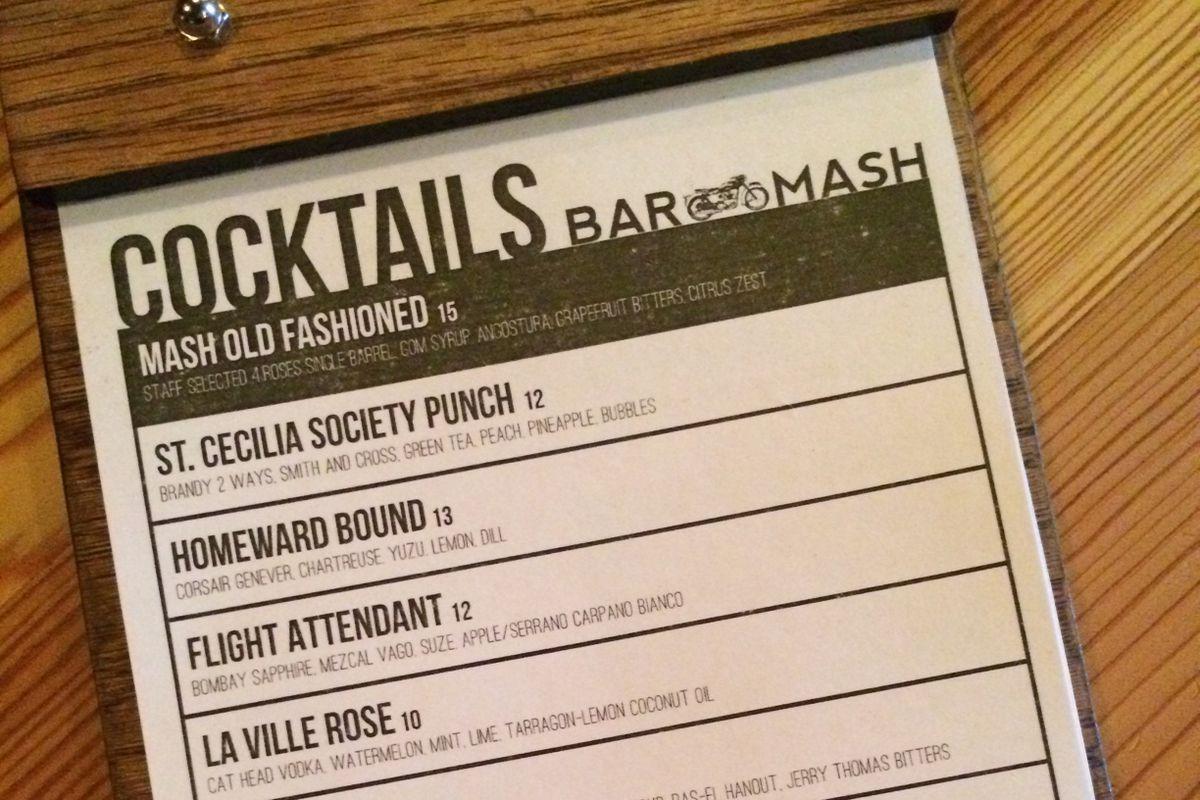 Mash's Bar Menu