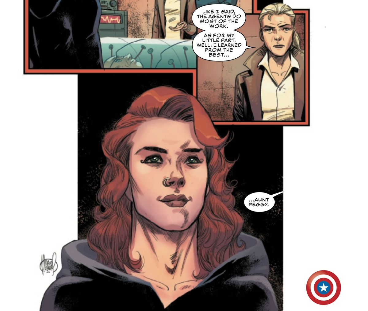 Sharon Carter says that she learned from the best, while introducing her miraculously alive and youthful aunt, WWII operative Peggy Carter.