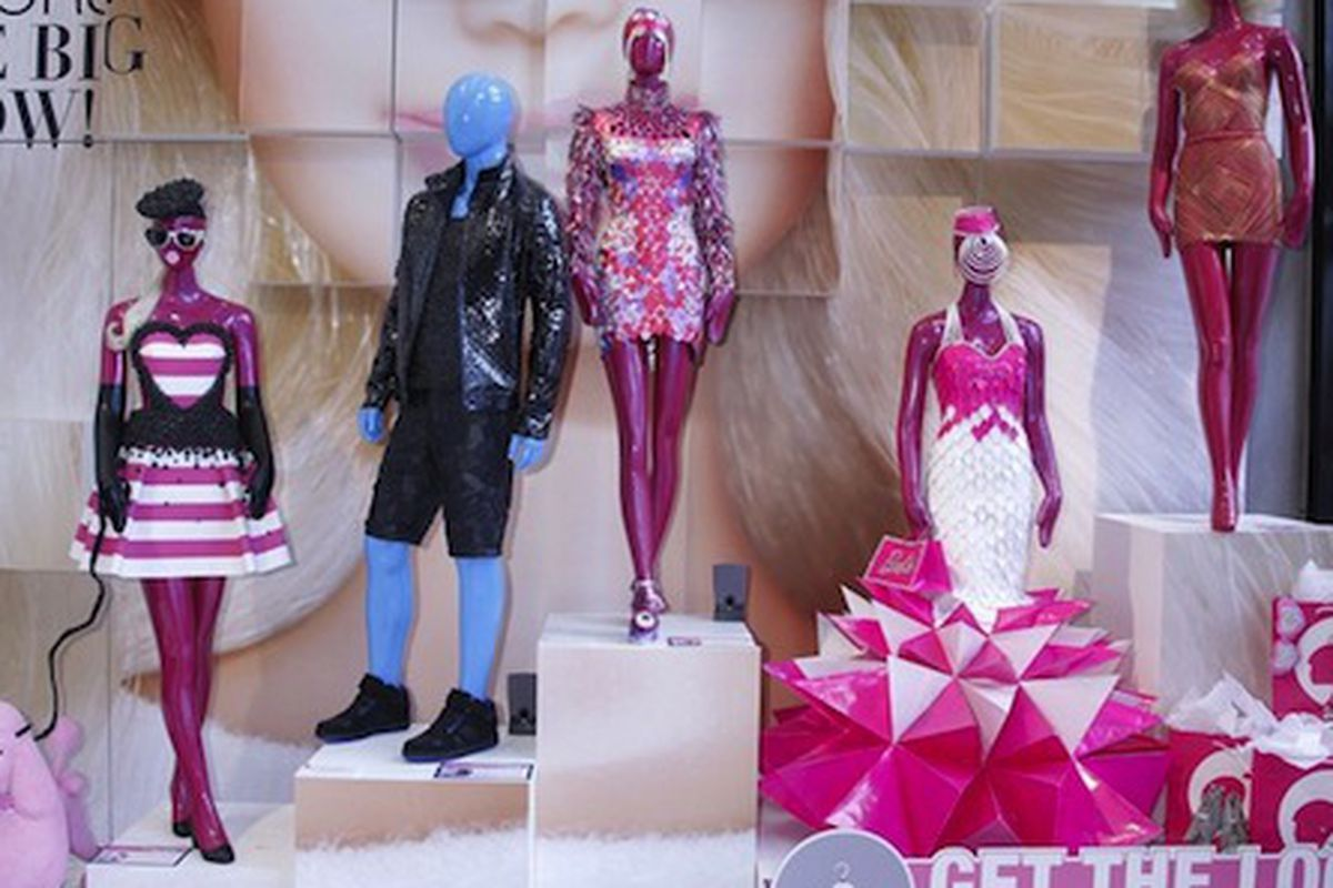 """Image via <a href=""""http://www.wwd.com/eye/fashion/fit-students-think-pink-for-barbie-installation-5905178?navSection=issues"""">WWD</a>"""