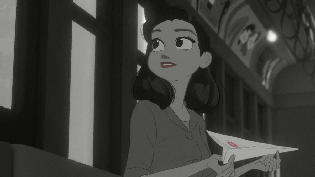 a 1940s-era woman in black and white, holding a paper airplane in Paperman
