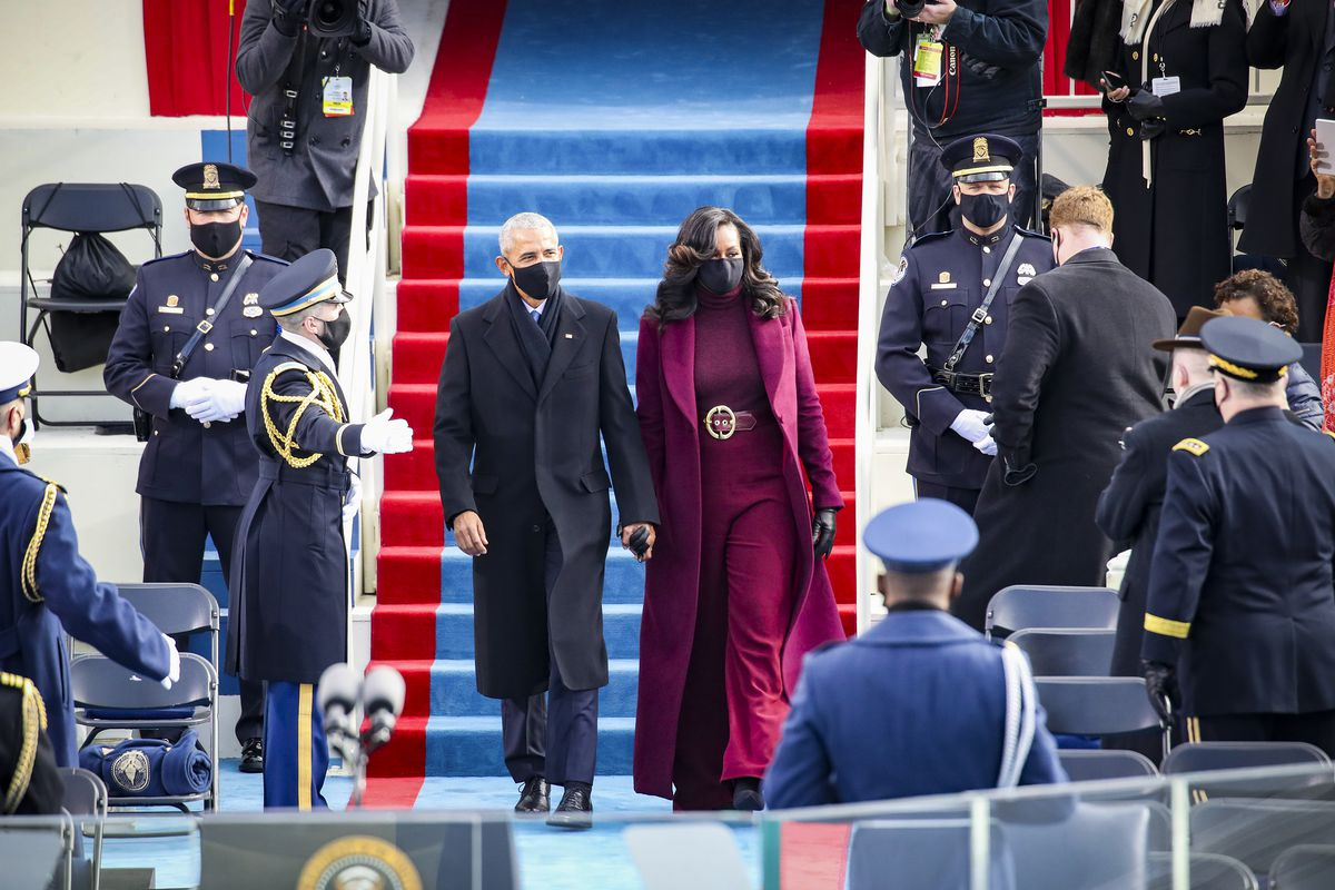 Former President Barack Obama and former first lady Michelle Obama at the swearing-in.