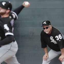 Chicago White Sox manager Rick Renteria watches during a spring training baseball workout Saturday, Feb. 16, 2019, in Glendale, Ariz. | Morry Gash/Associated Press