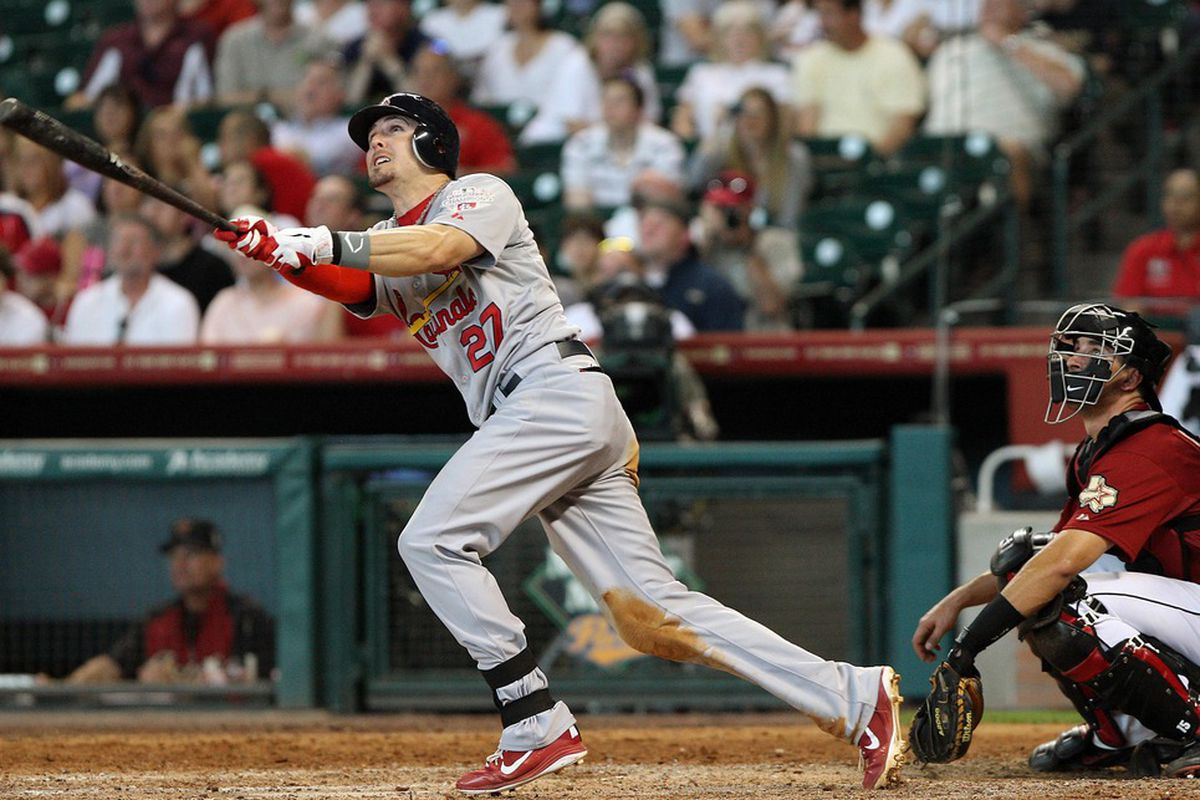 May 06, 2012; Houston, TX, USA; St. Louis Cardinals infielder Tyler Greene (27) hits a home run in the eighth inning against the Houston Astros at Minute Maid Park. Mandatory Credit: Troy Taormina-US PRESSWIRE